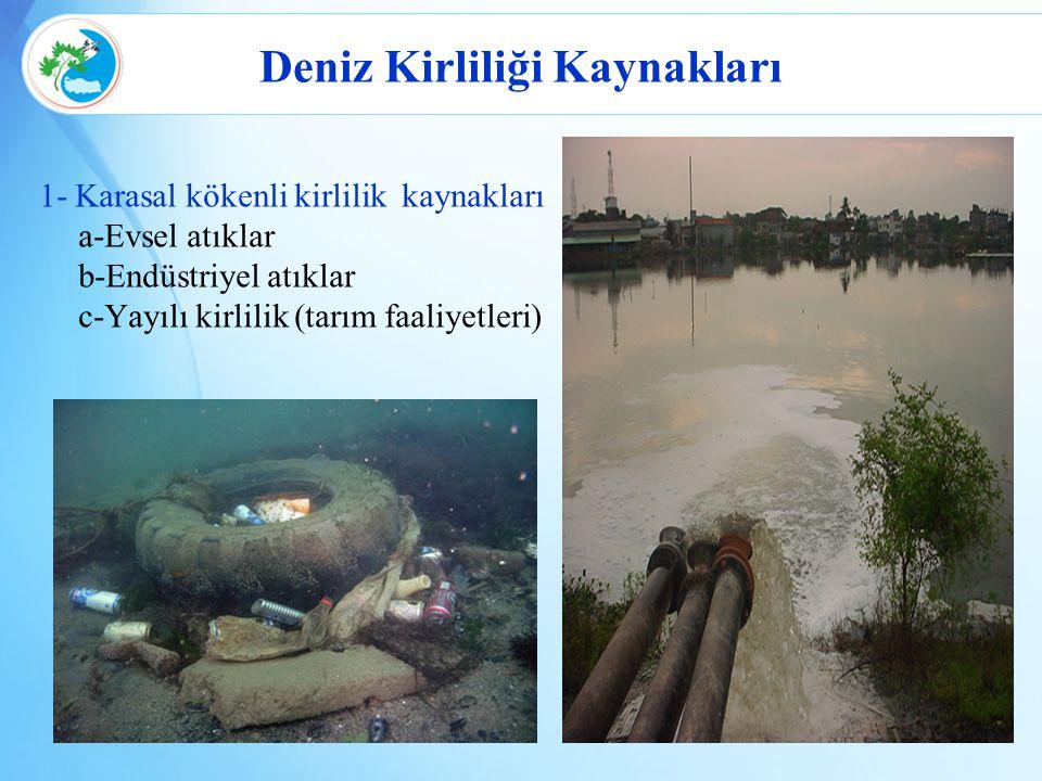 Deniz Kirliliği Kaynakları 1- Karasal kökenli kirlilik kaynakları a-Evsel atıklar b-Endüstriyel atıklar c-Yayılı kirlilik (tarım faaliyetleri)