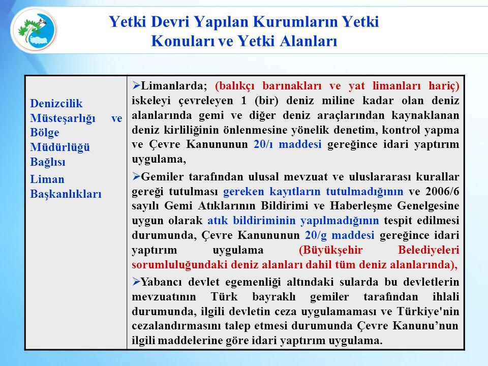 Yetki Devri Yapılan Kurumların Yetki Konuları ve Yetki Alanları Denizcilik Müsteşarlığı ve Bölge Müdürlüğü Bağlısı Liman Başkanlıkları  Limanlarda; (