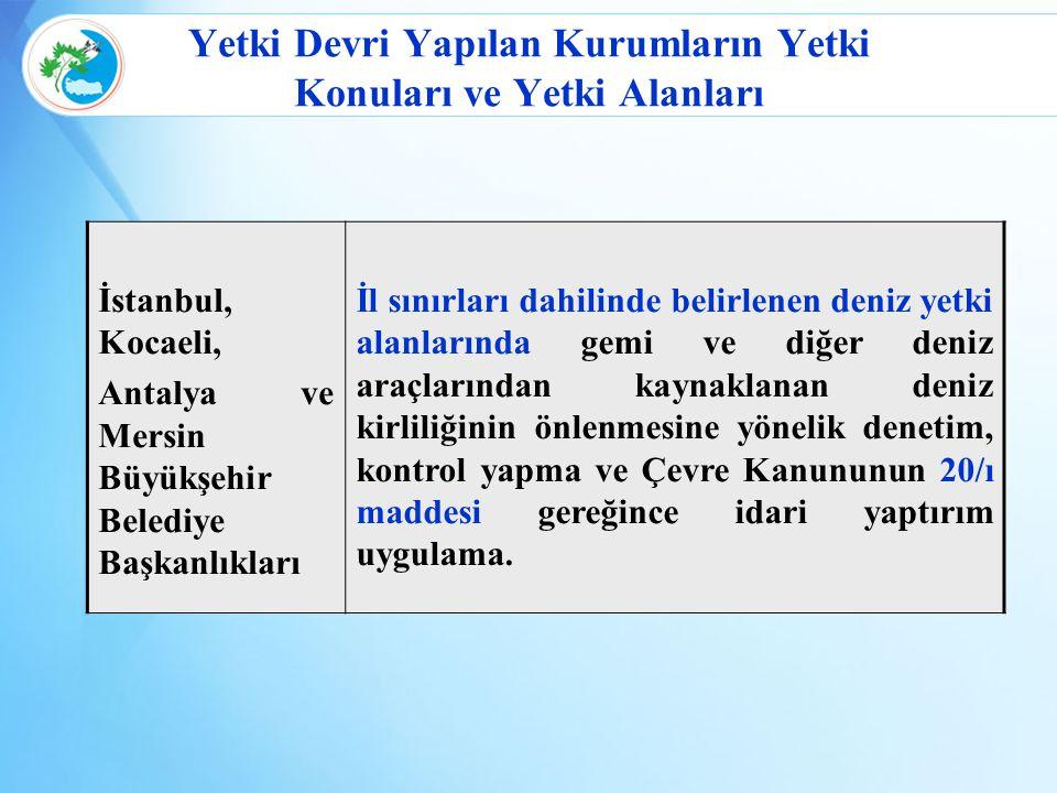 Yetki Devri Yapılan Kurumların Yetki Konuları ve Yetki Alanları İstanbul, Kocaeli, Antalya ve Mersin Büyükşehir Belediye Başkanlıkları İl sınırları da