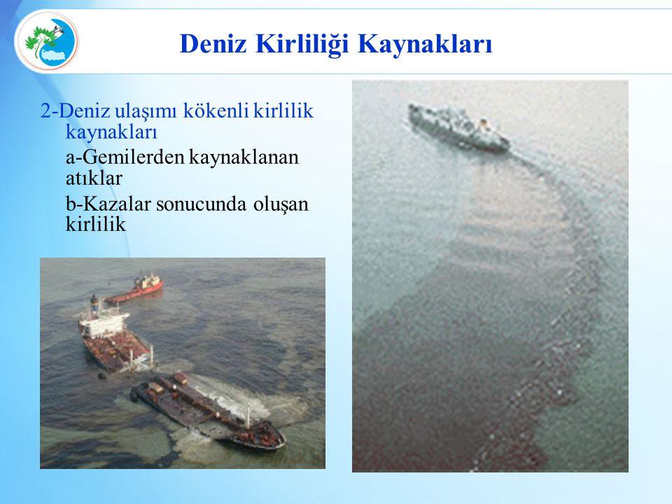Deniz Kirliliği Kaynakları 3-Diğer kirlilik kaynakları a-Turizm ve rekreasyon b-Katı atık depolama sahaları c-Atmosferik emisyonlar d-Maden alanları