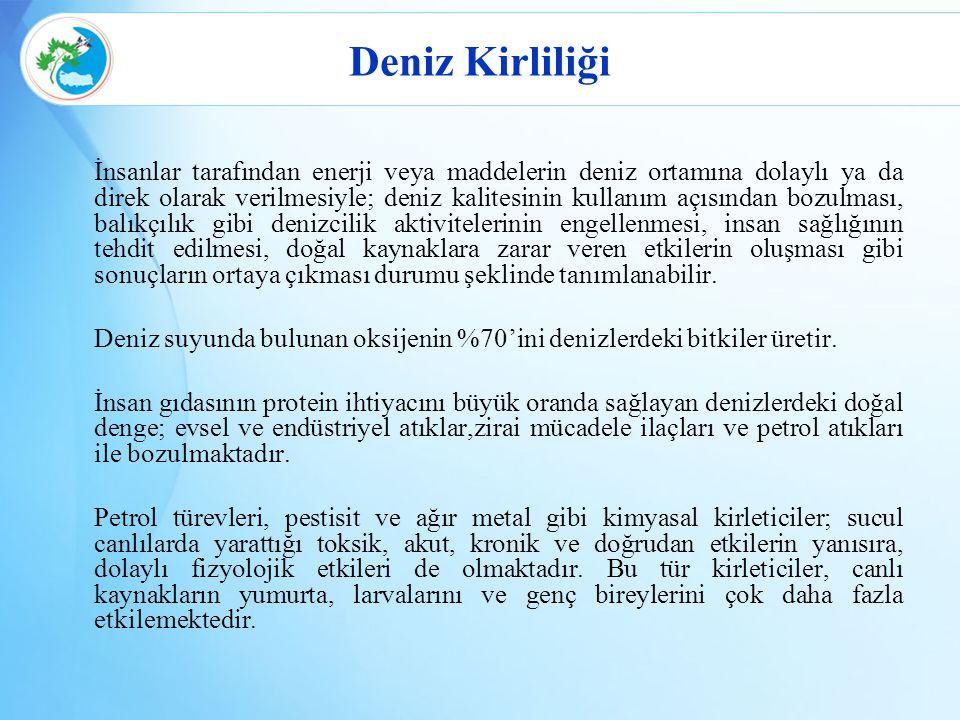 Yetki Devri Yapılan Kurumların Yetki Konuları ve Yetki Alanları İstanbul, Kocaeli, Antalya ve Mersin Büyükşehir Belediye Başkanlıkları İl sınırları dahilinde belirlenen deniz yetki alanlarında gemi ve diğer deniz araçlarından kaynaklanan deniz kirliliğinin önlenmesine yönelik denetim, kontrol yapma ve Çevre Kanununun 20/ı maddesi gereğince idari yaptırım uygulama.