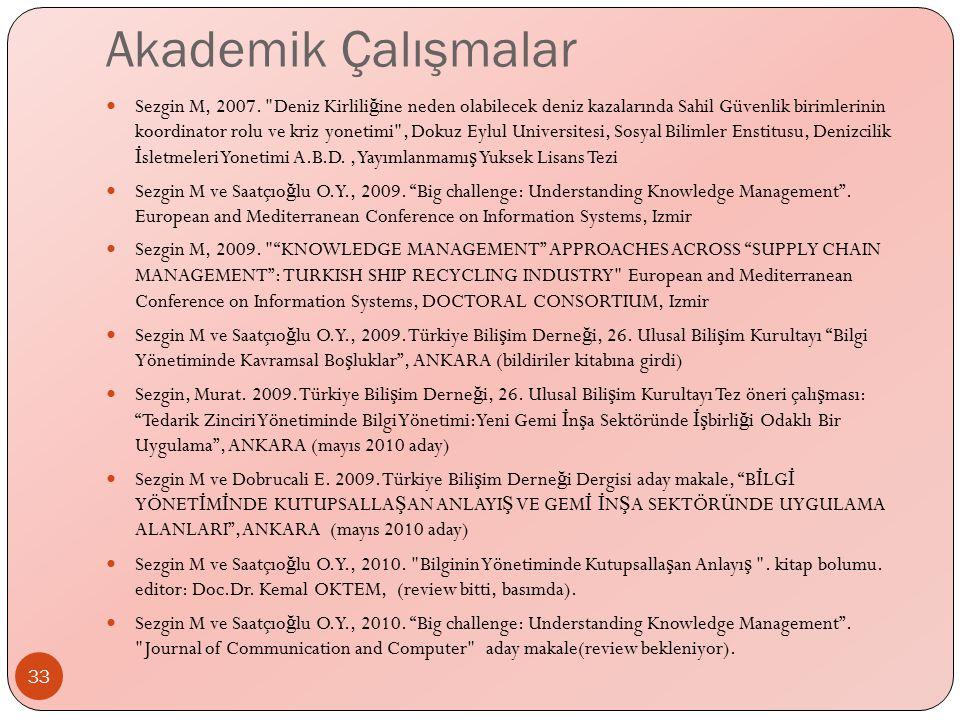 Akademik Çalışmalar Sezgin M, 2007.