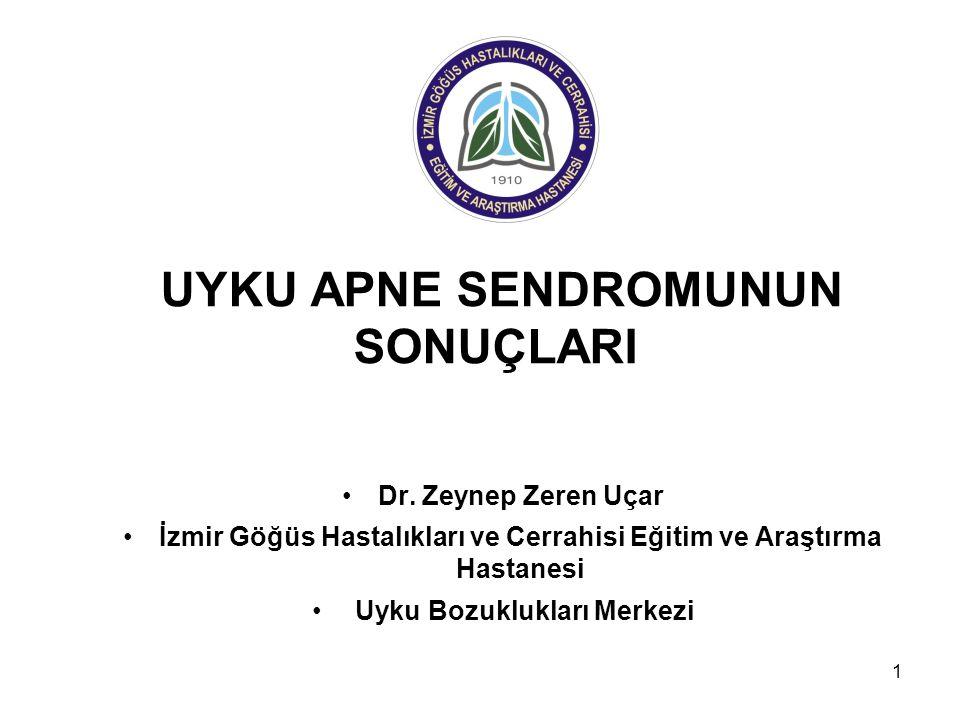 1 UYKU APNE SENDROMUNUN SONUÇLARI Dr. Zeynep Zeren Uçar İzmir Göğüs Hastalıkları ve Cerrahisi Eğitim ve Araştırma Hastanesi Uyku Bozuklukları Merkezi