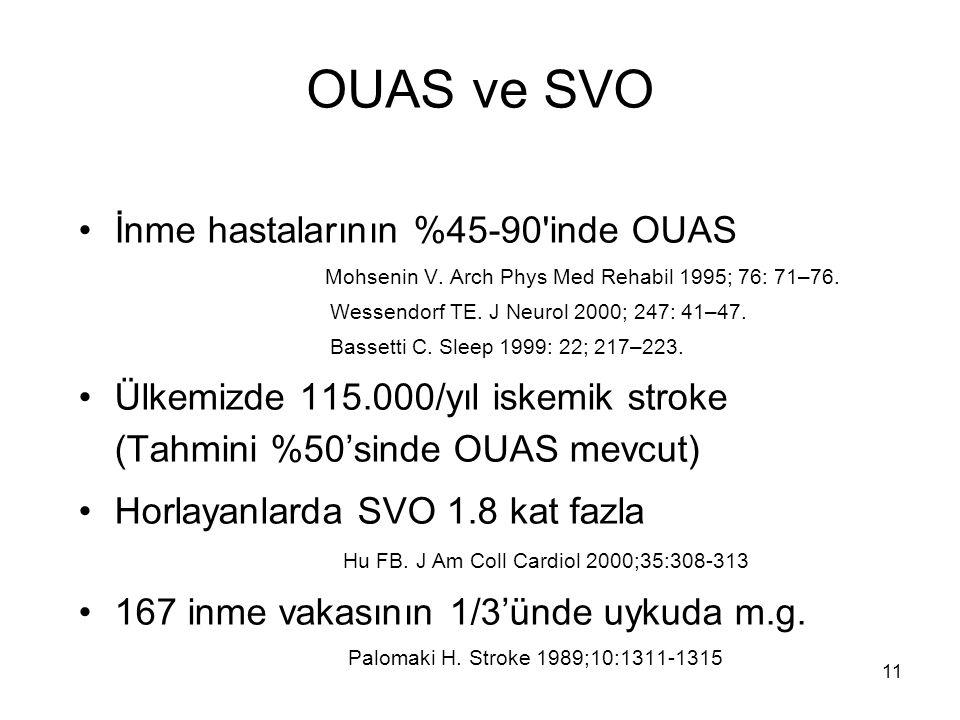 11 OUAS ve SVO İnme hastalarının %45-90'inde OUAS Mohsenin V. Arch Phys Med Rehabil 1995; 76: 71–76. Wessendorf TE. J Neurol 2000; 247: 41–47. Bassett