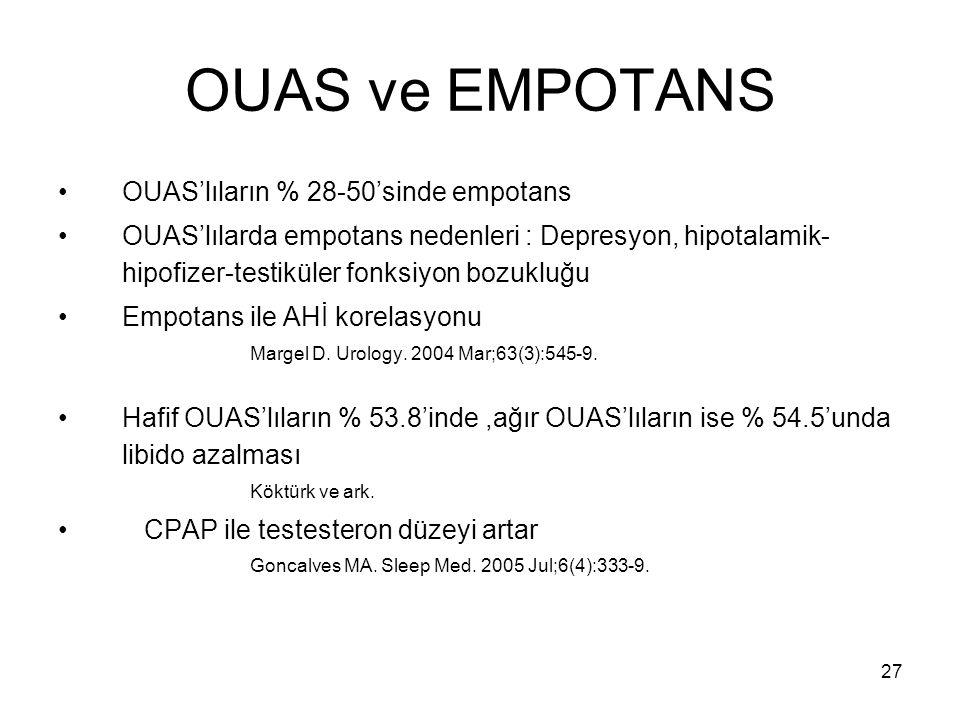 27 OUAS ve EMPOTANS OUAS'lıların % 28-50'sinde empotans OUAS'lılarda empotans nedenleri : Depresyon, hipotalamik- hipofizer-testiküler fonksiyon bozuk