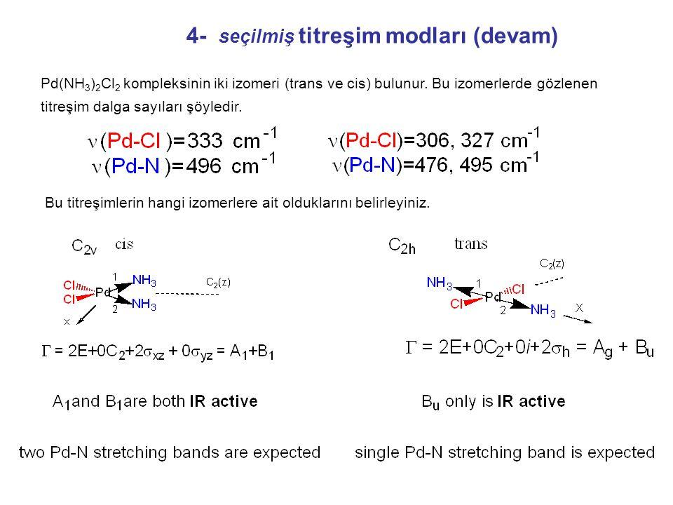Mn(CO) 5 Cl bileşiğinde IR aktif CO gerilme mod sayısını belirleyiniz. ),(),(),,( 0 0 2 02 11111 1 1111 111 11, 1 11 11 222 2 22 1 2 222 1 244 yzxzRRy