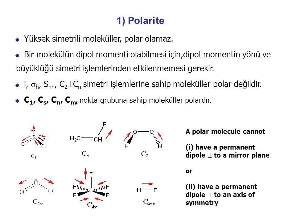D 3h E2C 3 3C 2 hh 3S 3 3v3v  eksen 220002  ekvator 301301 PFPF 521303 PF 5  eksen = A1 (R) + A 2  ekvator = A1 (R) + E' (IR, R) D3h E2C 3 3C 2 σhσh 2S 3 3σ v A 1 111111x 2 +y 2, z 2 A 2 1111 RzRz E 202 0(x, y) (x 2 -y 2, xy) A 1 111 A 2 11 1z E 20-210 (R x, R y ) (xz, yz) 1.Aşağıda eksen ve ekvator konumundaki titreşimlere ait ingirgenebilir titreşimlerini indirgeyiniz.