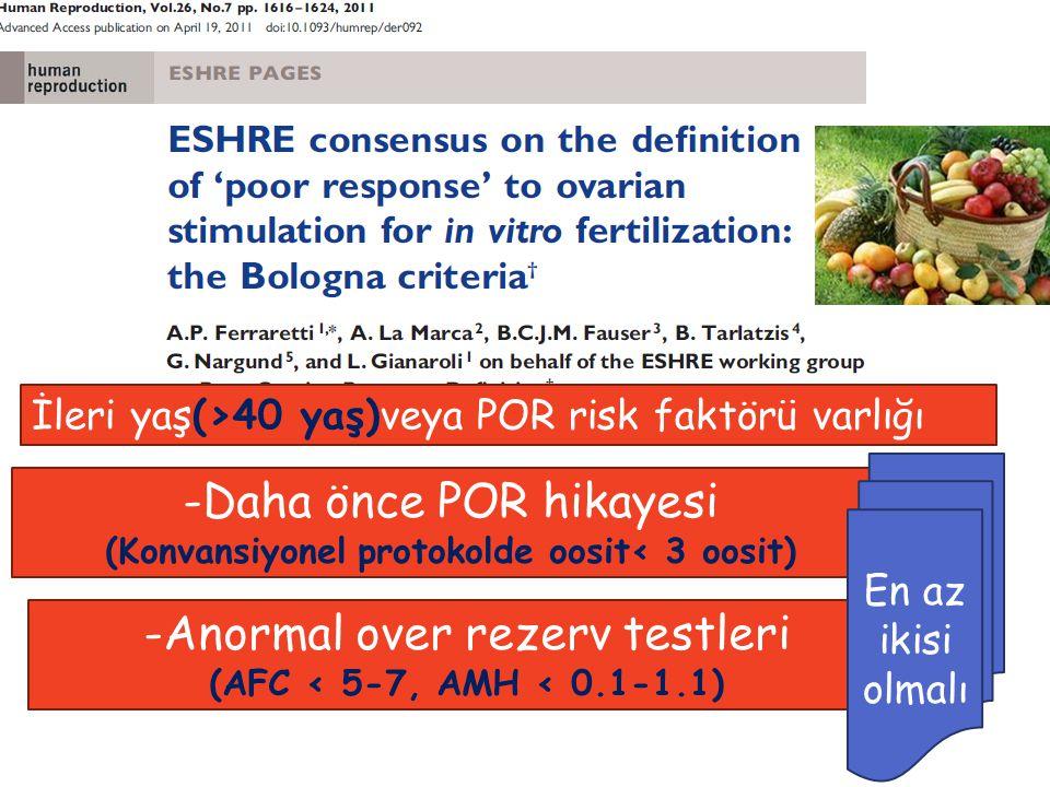 İleri yaş(>40 yaş)veya POR risk faktörü varlığı -Daha önce POR hikayesi (Konvansiyonel protokolde oosit< 3 oosit) -Anormal over rezerv testleri (AFC < 5-7, AMH < 0.1-1.1) En az ikisi olmalı