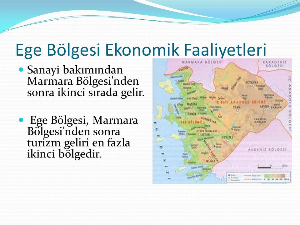 Ege Bölgesi Ekonomik Faaliyetleri Sanayi bakımından Marmara Bölgesi'nden sonra ikinci sırada gelir. Ege Bölgesi, Marmara Bölgesi'nden sonra turizm gel