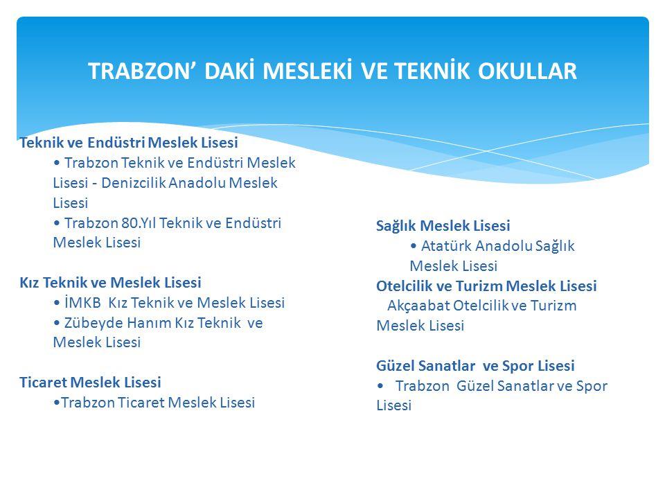 TRABZON' DAKİ MESLEKİ VE TEKNİK OKULLAR Teknik ve Endüstri Meslek Lisesi Trabzon Teknik ve Endüstri Meslek Lisesi - Denizcilik Anadolu Meslek Lisesi T