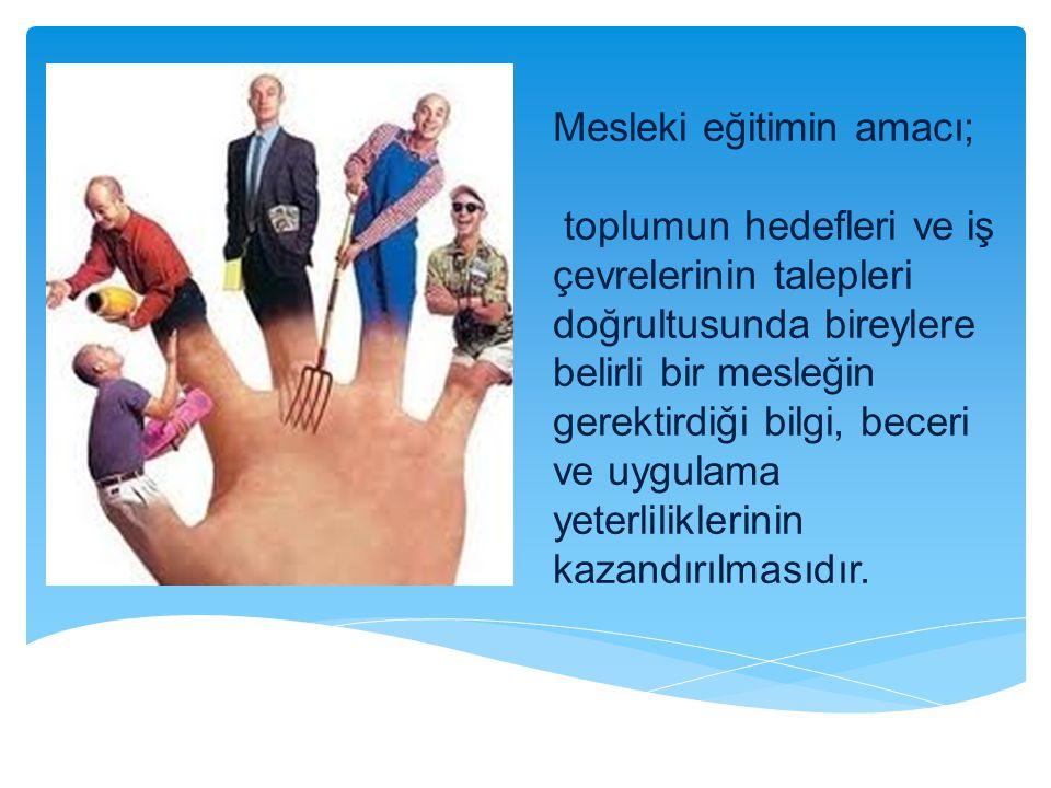 Mesleki eğitimin amacı; toplumun hedefleri ve iş çevrelerinin talepleri doğrultusunda bireylere belirli bir mesleğin gerektirdiği bilgi, beceri ve uyg