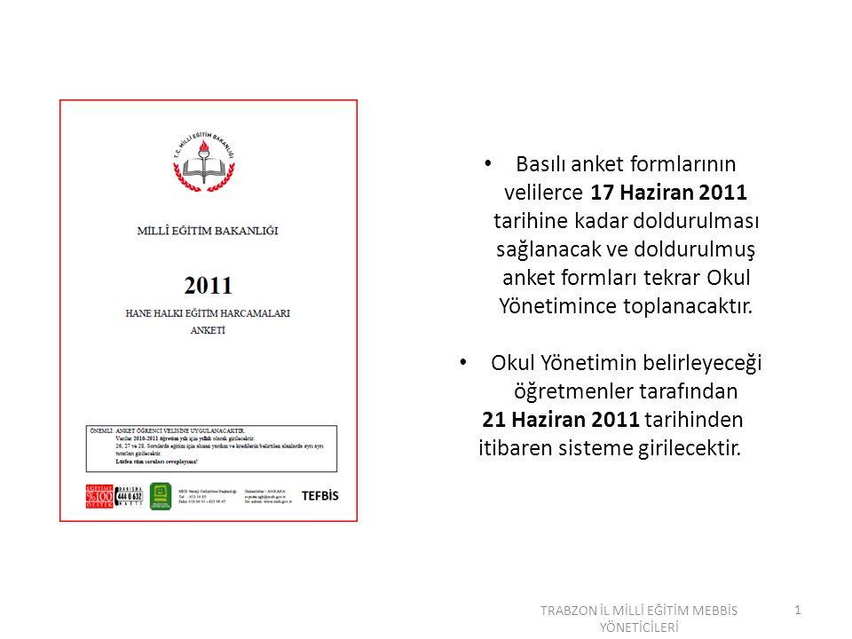 Basılı anket formlarının velilerce 17 Haziran 2011 tarihine kadar doldurulması sağlanacak ve doldurulmuş anket formları tekrar Okul Yönetimince toplanacaktır.