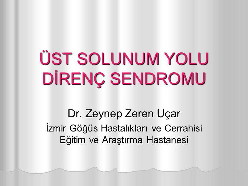 ÜST SOLUNUM YOLU DİRENÇ SENDROMU Dr. Zeynep Zeren Uçar İzmir Göğüs Hastalıkları ve Cerrahisi Eğitim ve Araştırma Hastanesi