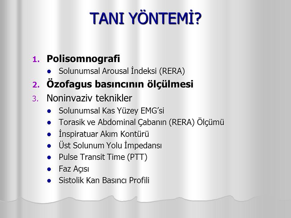 TANI YÖNTEMİ? 1. Polisomnografi Solunumsal Arousal İndeksi (RERA) Solunumsal Arousal İndeksi (RERA) 2. Özofagus basıncının ölçülmesi 3. Noninvaziv tek