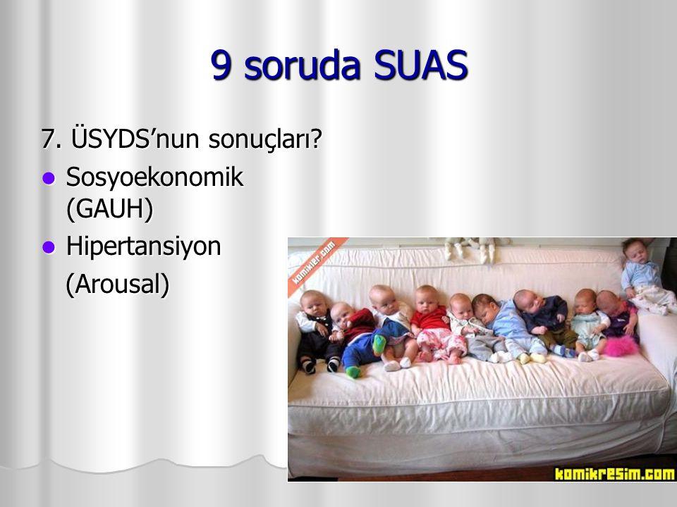 9 soruda SUAS 7. ÜSYDS'nun sonuçları? Sosyoekonomik (GAUH) Sosyoekonomik (GAUH) Hipertansiyon Hipertansiyon (Arousal) (Arousal)