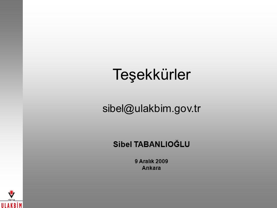 Teşekkürler sibel@ulakbim.gov.tr Sibel TABANLIOĞLU 9 Aralık 2009 Ankara
