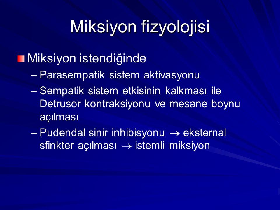 Miksiyon fizyolojisi Miksiyon istendiğinde – –Parasempatik sistem aktivasyonu – –Sempatik sistem etkisinin kalkması ile Detrusor kontraksiyonu ve mesane boynu açılması – –Pudendal sinir inhibisyonu  eksternal sfinkter açılması  istemli miksiyon