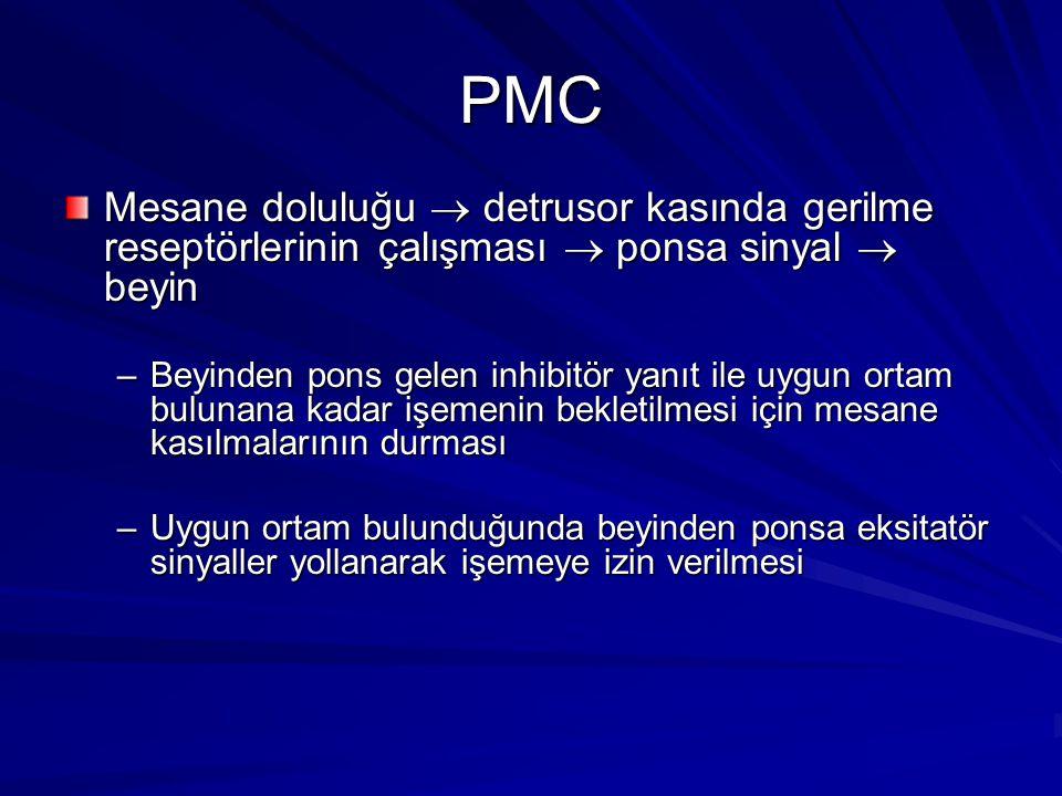 PMC Mesane doluluğu  detrusor kasında gerilme reseptörlerinin çalışması  ponsa sinyal  beyin –Beyinden pons gelen inhibitör yanıt ile uygun ortam bulunana kadar işemenin bekletilmesi için mesane kasılmalarının durması –Uygun ortam bulunduğunda beyinden ponsa eksitatör sinyaller yollanarak işemeye izin verilmesi