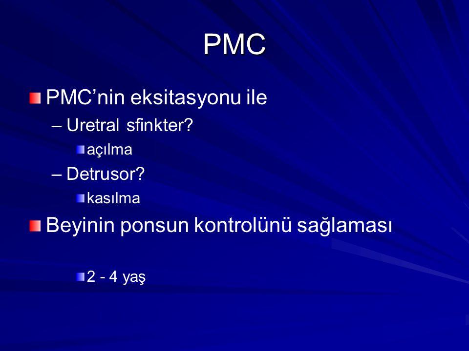 PMC PMC'nin eksitasyonu ile – –Uretral sfinkter.açılma – –Detrusor.