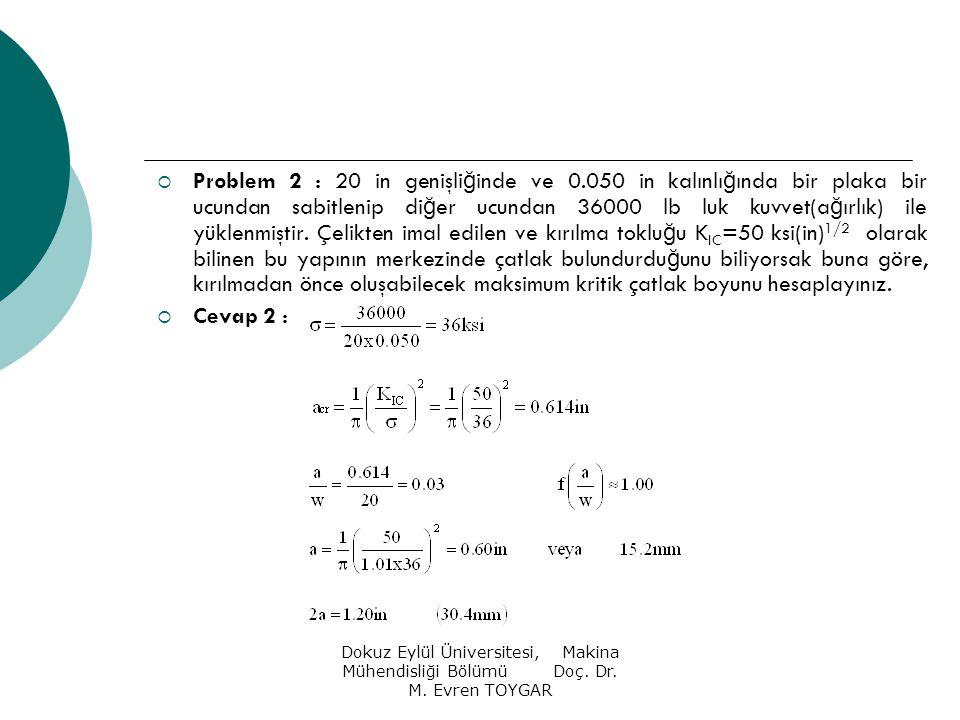 Dokuz Eylül Üniversitesi, Makina Mühendisliği Bölümü Doç. Dr. M. Evren TOYGAR  Problem 2 : 20 in genişli ğ inde ve 0.050 in kalınlı ğ ında bir plaka