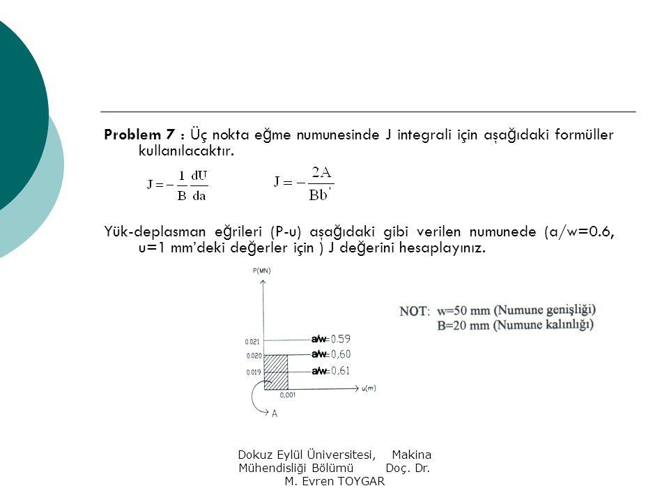Dokuz Eylül Üniversitesi, Makina Mühendisliği Bölümü Doç. Dr. M. Evren TOYGAR Problem 7 : Üç nokta e ğ me numunesinde J integrali için aşa ğ ıdaki for