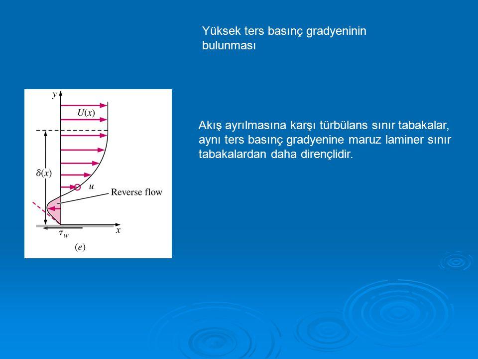 Yüksek ters basınç gradyeninin bulunması Akış ayrılmasına karşı türbülans sınır tabakalar, aynı ters basınç gradyenine maruz laminer sınır tabakalarda