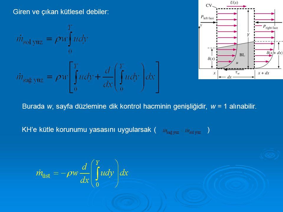 Giren ve çıkan kütlesel debiler: Burada w, sayfa düzlemine dik kontrol hacminin genişliğidir, w = 1 alınabilir. KH'e kütle korunumu yasasını uygularsa