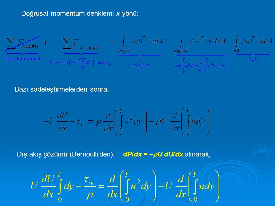 Doğrusal momentum denklemi x-yönü: Bazı sadeleştirmelerden sonra; Dış akış çözümü (Bernoulli'den): dP/dx = –  U dU/dx alınarak;