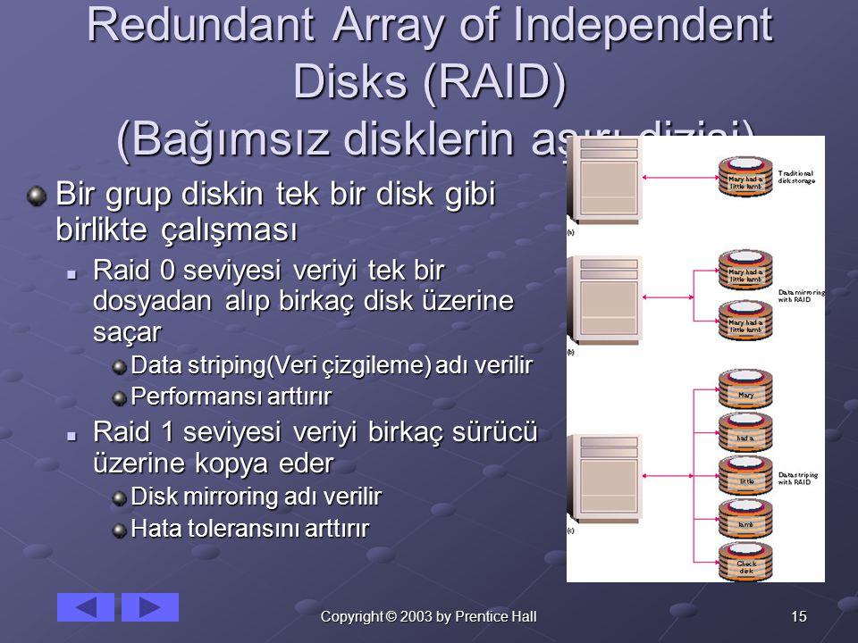 15Copyright © 2003 by Prentice Hall Redundant Array of Independent Disks (RAID) (Bağımsız disklerin aşırı dizisi) Bir grup diskin tek bir disk gibi birlikte çalışması Raid 0 seviyesi veriyi tek bir dosyadan alıp birkaç disk üzerine saçar Raid 0 seviyesi veriyi tek bir dosyadan alıp birkaç disk üzerine saçar Data striping(Veri çizgileme) adı verilir Performansı arttırır Raid 1 seviyesi veriyi birkaç sürücü üzerine kopya eder Raid 1 seviyesi veriyi birkaç sürücü üzerine kopya eder Disk mirroring adı verilir Hata toleransını arttırır