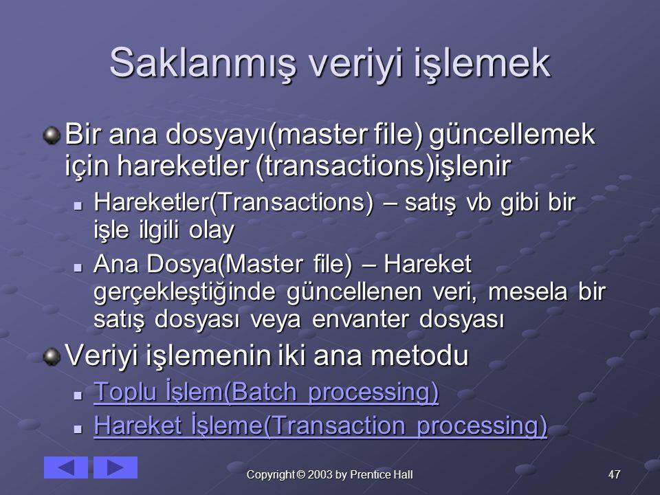 47Copyright © 2003 by Prentice Hall Saklanmış veriyi işlemek Bir ana dosyayı(master file) güncellemek için hareketler (transactions)işlenir Hareketler(Transactions) – satış vb gibi bir işle ilgili olay Hareketler(Transactions) – satış vb gibi bir işle ilgili olay Ana Dosya(Master file) – Hareket gerçekleştiğinde güncellenen veri, mesela bir satış dosyası veya envanter dosyası Ana Dosya(Master file) – Hareket gerçekleştiğinde güncellenen veri, mesela bir satış dosyası veya envanter dosyası Veriyi işlemenin iki ana metodu Toplu İşlem(Batch processing) Toplu İşlem(Batch processing) Toplu İşlem(Batch processing) Toplu İşlem(Batch processing) Hareket İşleme(Transaction processing) Hareket İşleme(Transaction processing) Hareket İşleme(Transaction processing) Hareket İşleme(Transaction processing)