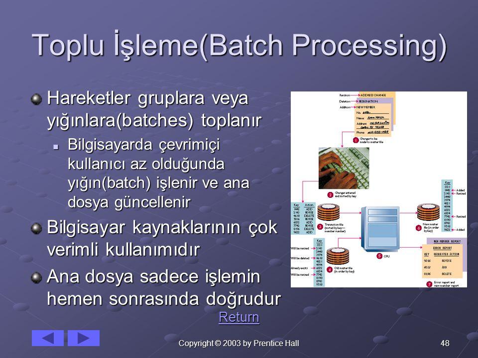 48Copyright © 2003 by Prentice Hall Toplu İşleme(Batch Processing) Hareketler gruplara veya yığınlara(batches) toplanır Bilgisayarda çevrimiçi kullanıcı az olduğunda yığın(batch) işlenir ve ana dosya güncellenir Bilgisayarda çevrimiçi kullanıcı az olduğunda yığın(batch) işlenir ve ana dosya güncellenir Bilgisayar kaynaklarının çok verimli kullanımıdır Ana dosya sadece işlemin hemen sonrasında doğrudur Return