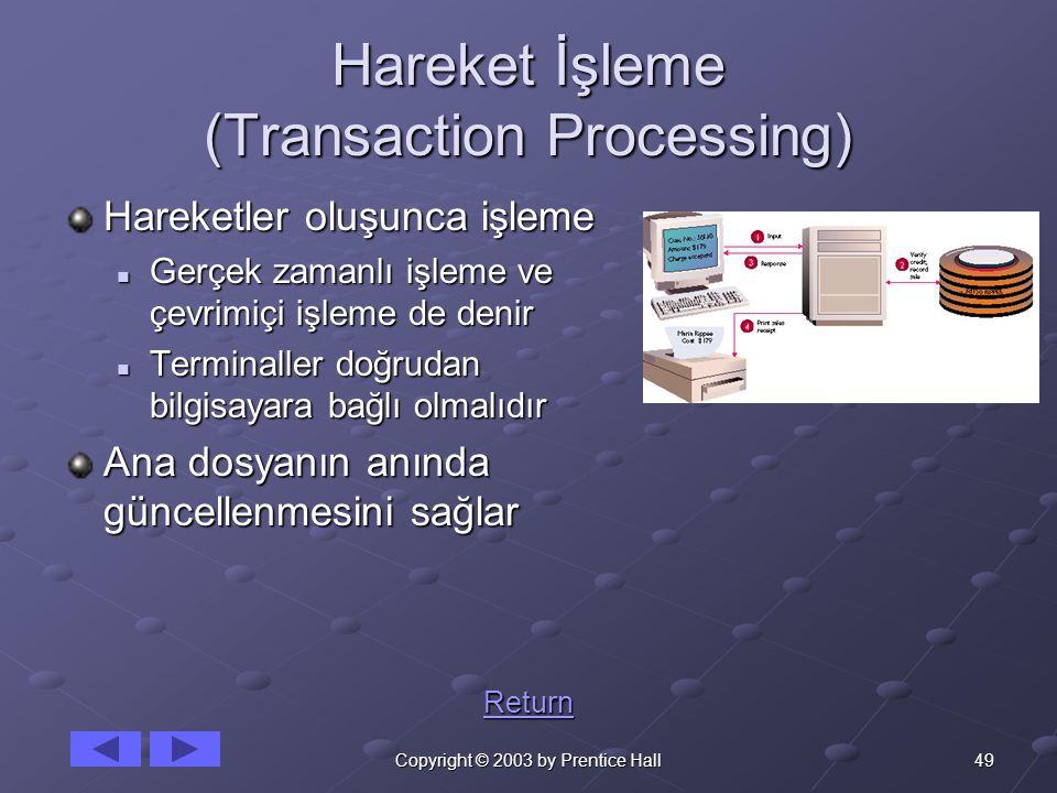 49Copyright © 2003 by Prentice Hall Hareket İşleme (Transaction Processing) Hareketler oluşunca işleme Gerçek zamanlı işleme ve çevrimiçi işleme de denir Gerçek zamanlı işleme ve çevrimiçi işleme de denir Terminaller doğrudan bilgisayara bağlı olmalıdır Terminaller doğrudan bilgisayara bağlı olmalıdır Ana dosyanın anında güncellenmesini sağlar Return
