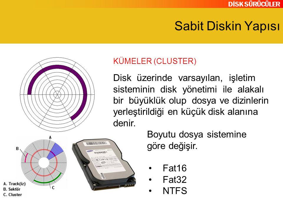 DİSK SÜRÜCÜLER Sabit Diskin Yapısı Disk üzerinde varsayılan, işletim sisteminin disk yönetimi ile alakalı bir büyüklük olup dosya ve dizinlerin yerleş