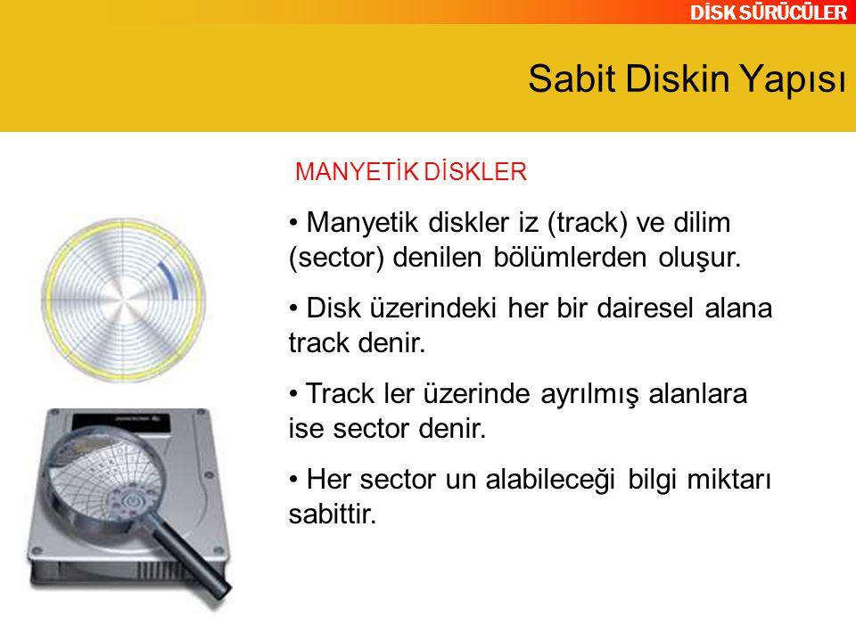 DİSK SÜRÜCÜLER Sabit Diskin Yapısı Manyetik diskler iz (track) ve dilim (sector) denilen bölümlerden oluşur. Disk üzerindeki her bir dairesel alana tr