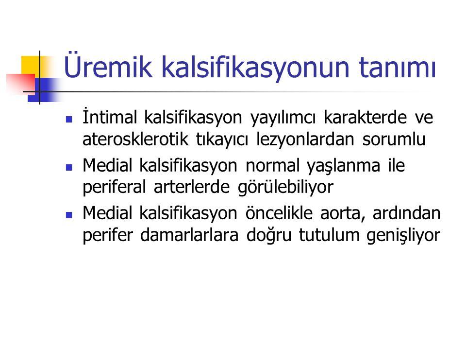 Üremik kalsifikasyonun tanımı İntimal kalsifikasyon yayılımcı karakterde ve aterosklerotik tıkayıcı lezyonlardan sorumlu Medial kalsifikasyon normal y