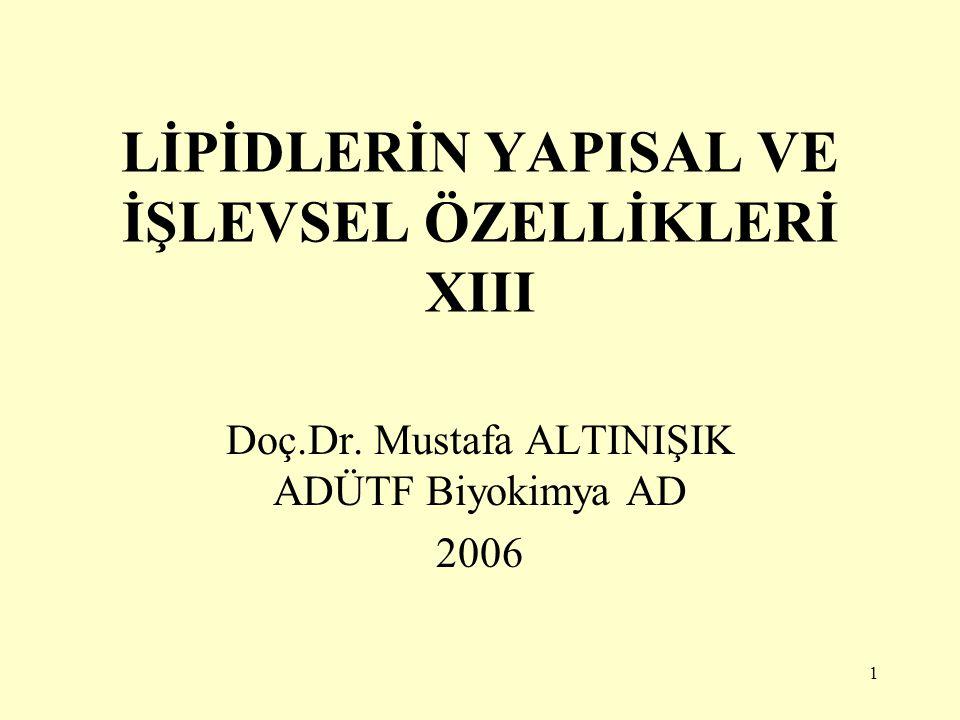 1 LİPİDLERİN YAPISAL VE İŞLEVSEL ÖZELLİKLERİ XIII Doç.Dr. Mustafa ALTINIŞIK ADÜTF Biyokimya AD 2006