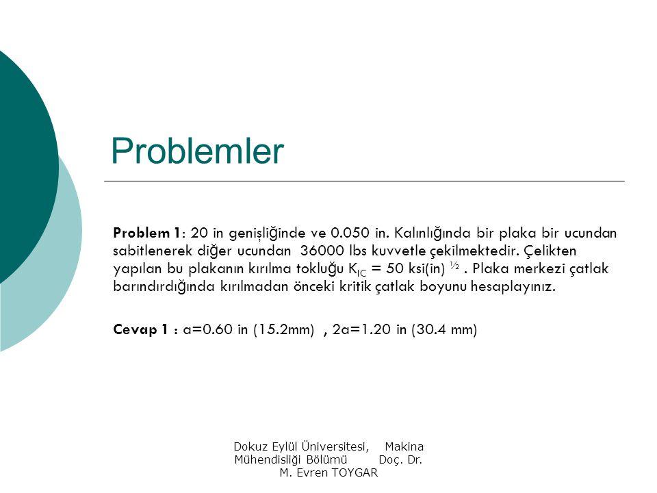 Dokuz Eylül Üniversitesi, Makina Mühendisliği Bölümü Doç. Dr. M. Evren TOYGAR Problemler Problem 1: 20 in genişli ğ inde ve 0.050 in. Kalınlı ğ ında b