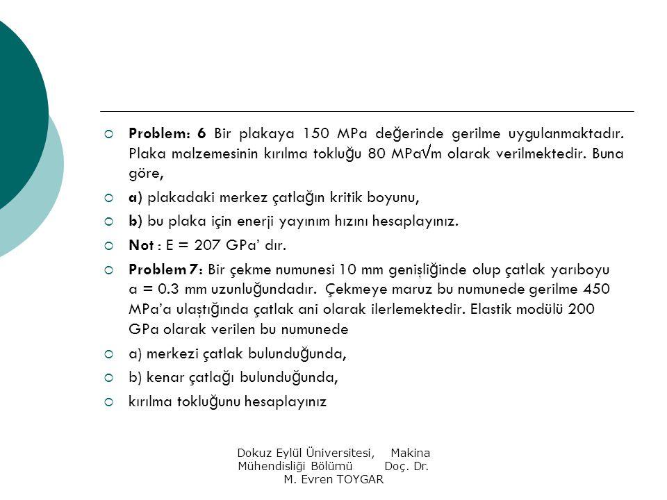 Dokuz Eylül Üniversitesi, Makina Mühendisliği Bölümü Doç. Dr. M. Evren TOYGAR  Problem: 6 Bir plakaya 150 MPa de ğ erinde gerilme uygulanmaktadır. Pl
