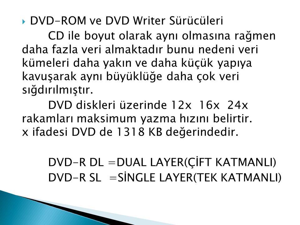  DVD-ROM ve DVD Writer Sürücüleri CD ile boyut olarak aynı olmasına rağmen daha fazla veri almaktadır bunu nedeni veri kümeleri daha yakın ve daha kü