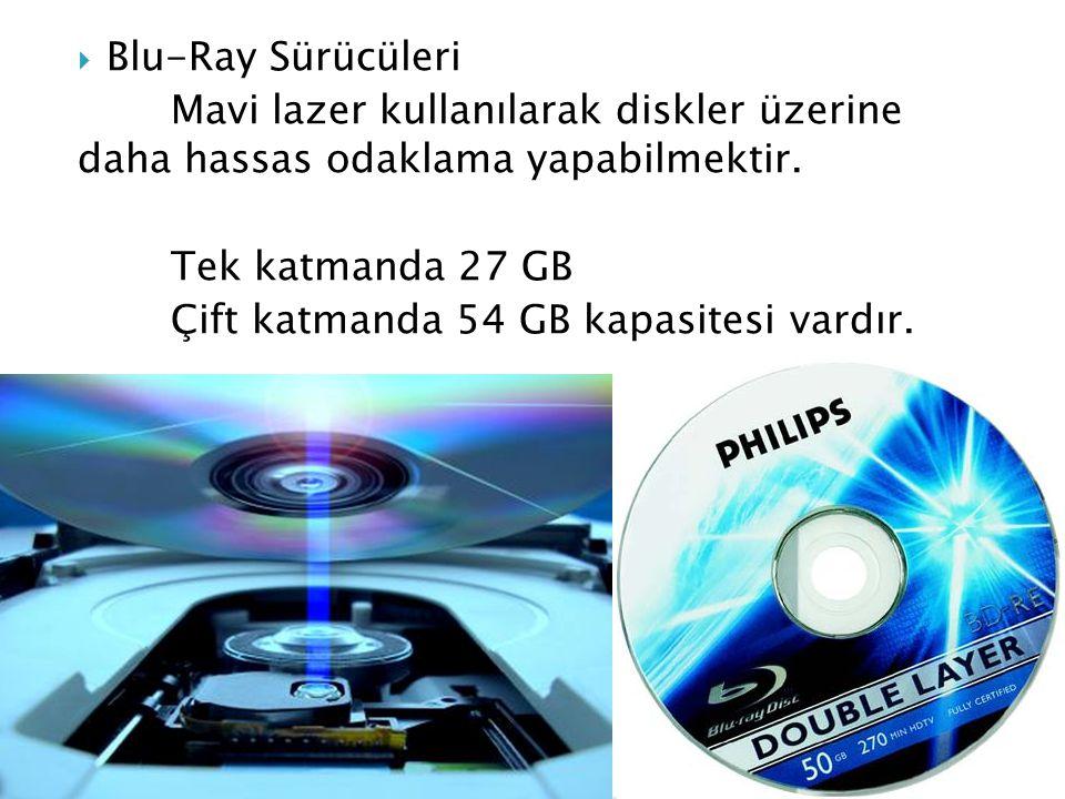  Blu-Ray Sürücüleri Mavi lazer kullanılarak diskler üzerine daha hassas odaklama yapabilmektir.