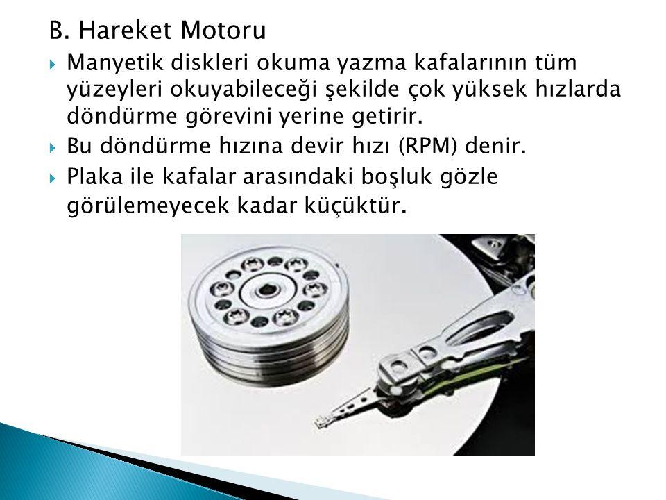 B. Hareket Motoru  Manyetik diskleri okuma yazma kafalarının tüm yüzeyleri okuyabileceği şekilde çok yüksek hızlarda döndürme görevini yerine getirir