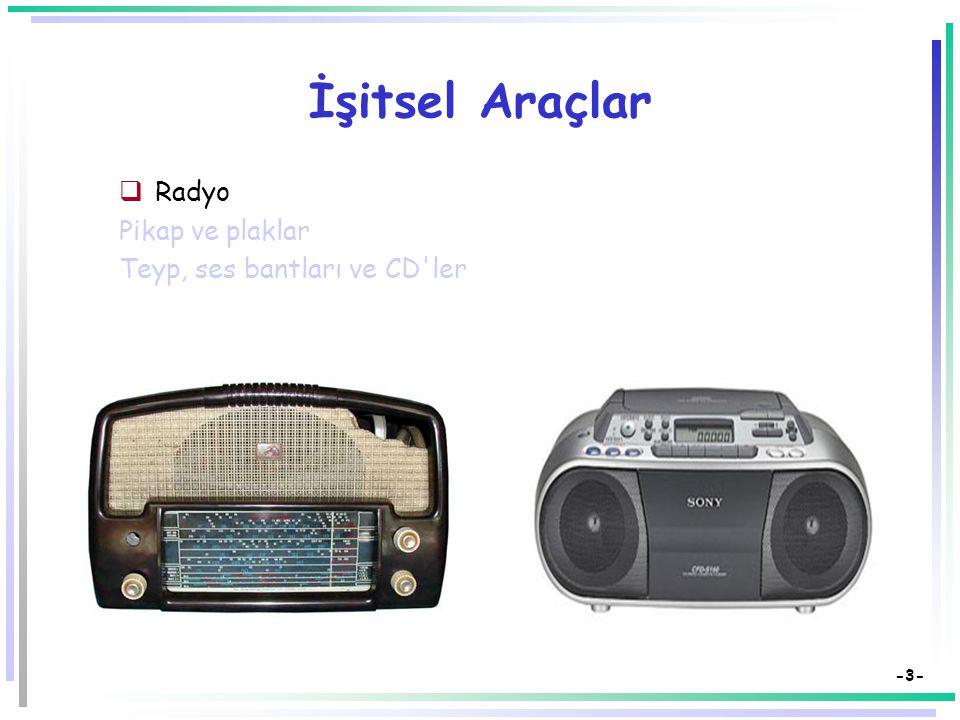 -3- İşitsel Araçlar  Radyo Pikap ve plaklar Teyp, ses bantları ve CD ler