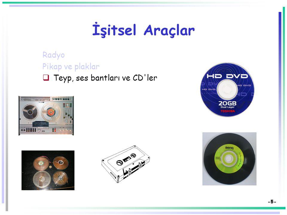 -5- İşitsel Araçlar Radyo Pikap ve plaklar  Teyp, ses bantları ve CD ler