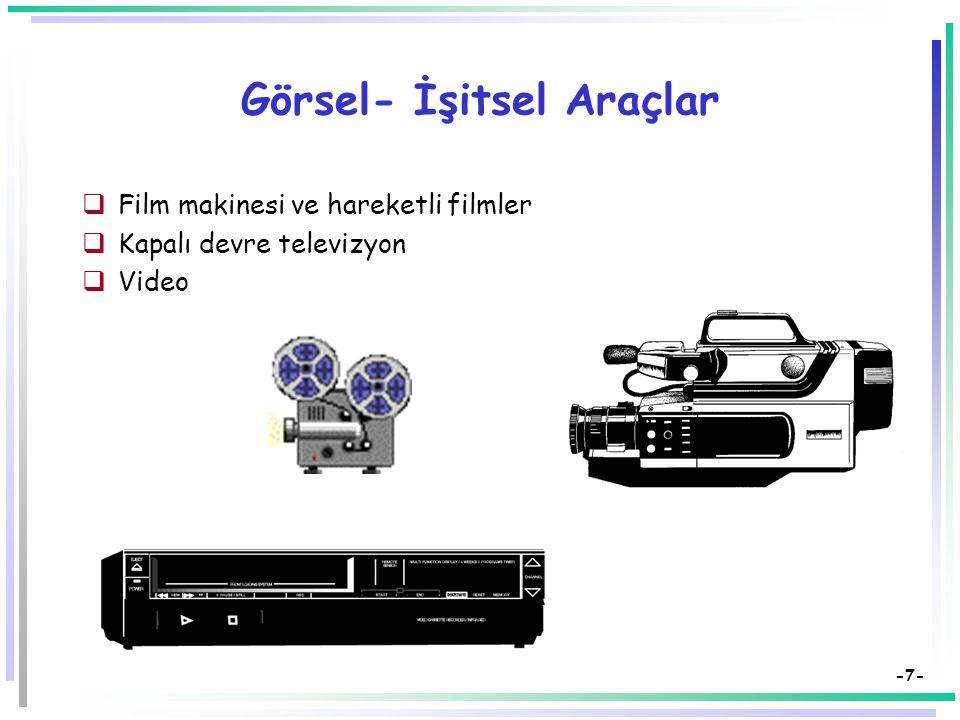 -7- Görsel- İşitsel Araçlar  Film makinesi ve hareketli filmler  Kapalı devre televizyon  Video