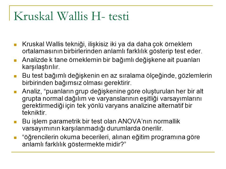 Kruskal Wallis H- testi Kruskal Wallis tekniği, ilişkisiz iki ya da daha çok örneklem ortalamasının birbirlerinden anlamlı farklılık gösterip test eder.