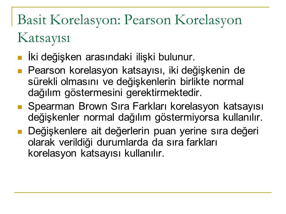 Basit Korelasyon: Pearson Korelasyon Katsayısı İki değişken arasındaki ilişki bulunur.
