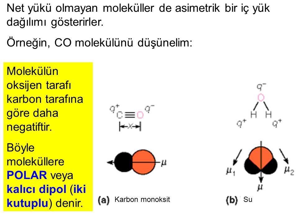 Net yükü olmayan moleküller de asimetrik bir iç yük dağılımı gösterirler. Örneğin, CO molekülünü düşünelim: Karbon monoksitSu Molekülün oksijen tarafı