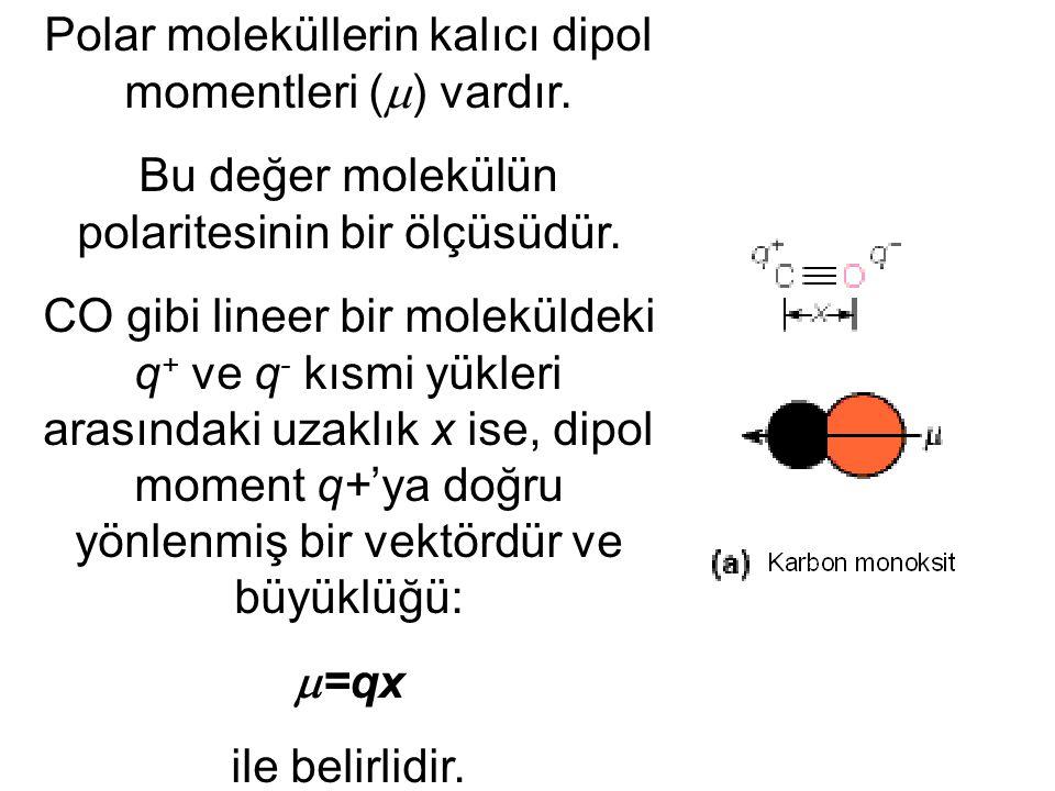 Polar moleküllerin kalıcı dipol momentleri (  ) vardır. Bu değer molekülün polaritesinin bir ölçüsüdür. CO gibi lineer bir moleküldeki q + ve q - kıs