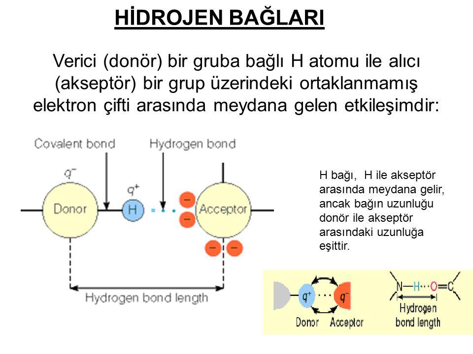 HİDROJEN BAĞLARI Verici (donör) bir gruba bağlı H atomu ile alıcı (akseptör) bir grup üzerindeki ortaklanmamış elektron çifti arasında meydana gelen e