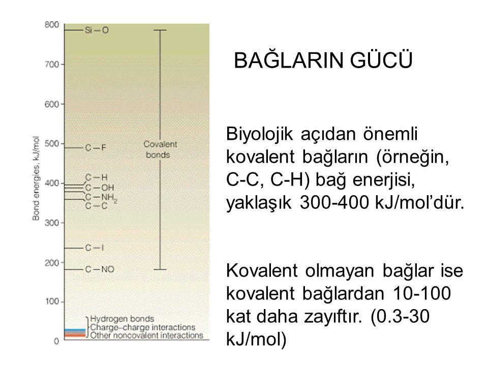 Biyolojik açıdan önemli kovalent bağların (örneğin, C-C, C-H) bağ enerjisi, yaklaşık 300-400 kJ/mol'dür. Kovalent olmayan bağlar ise kovalent bağlarda